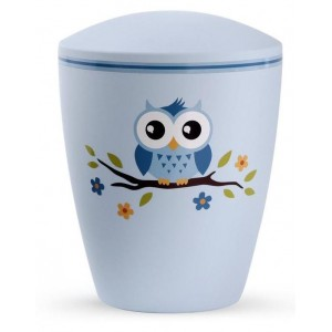 Biodegradable Cremation Ashes Urn (Infant / Child / Boy / Girl) – Blue with Illustrated Owl